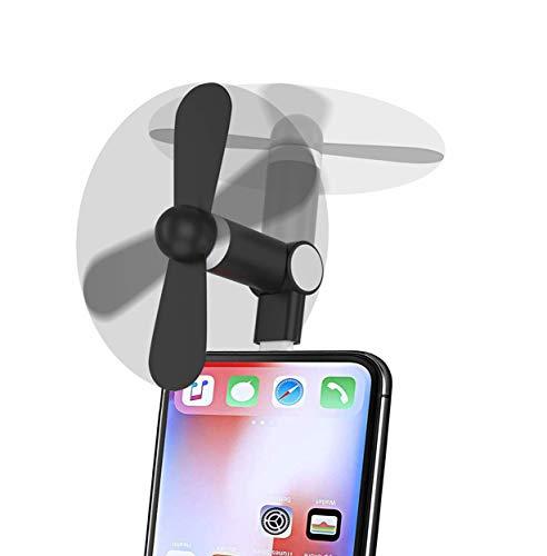 Mini Handy Ventilator, Wuedozue 180 Drehbare Tragbare Kühler Handy Fan Kompatibel mit iPhone 11/11 Pro/11 Pro Max/X/Xs/Xr / 8/8 Plus / 7/7 Plus / 6/6s / iPad und mehr (Schwarz)