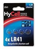 HYCELL 1516-0025 - Juego de Pila de botón alcalina LR41 1,5V, V3GA, LR41/192