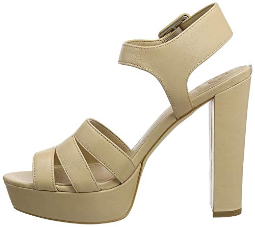 Guess Lylah/Sandalo (Sandal)/Leather, Escarpins Bout Ouvert Femme, Marron (Medium Brown NATU), 40 EU