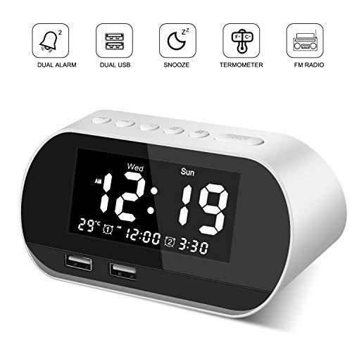 Radiowecker, FM Radiowecker Digital, HOSPAOP Radiowecker Dual Alarm mit Zwei USB Ladeanschlüssen, Reisewecker, 6 Helligkeit,7 Alarmtöne mit 16 Lautstärke für Schlafzimmer,Kind,Büro