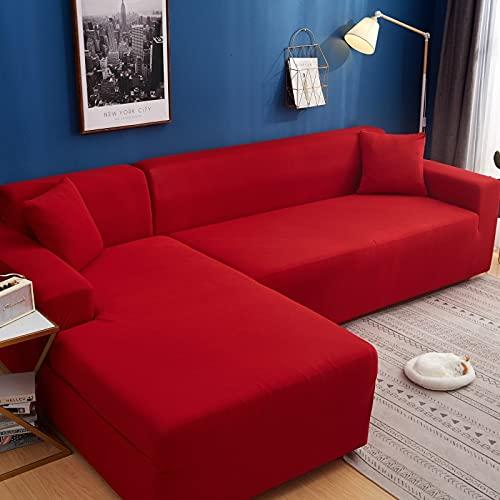 WXQY Funda de sofá de Color sólido de Alta Elasticidad sofá Moderno Chaise Longue Esquina en Forma de L Funda de sofá elástica Funda de sofá A7 4 plazas