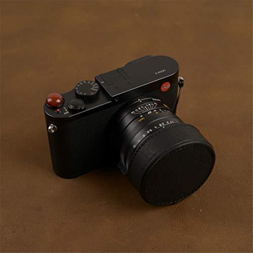 Puuboo Leica Q Qp Q2 (typ116) Cubierta de la Lente de la cámara Cubierta de protección de Cuero de Vaca Hecha a Mano Bolsa de cámara Anti-perdida,Black