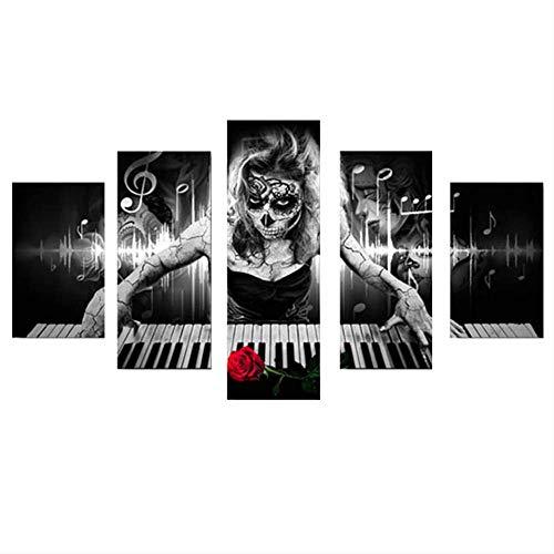 DGGDVP muurkunst canvas HD-druk 5 panelen abstract horror meisje piano muziek poster woonkamer decoratief beeld 40x60cmx2 40x80cmx2 40x100cmx1 Geen frame.