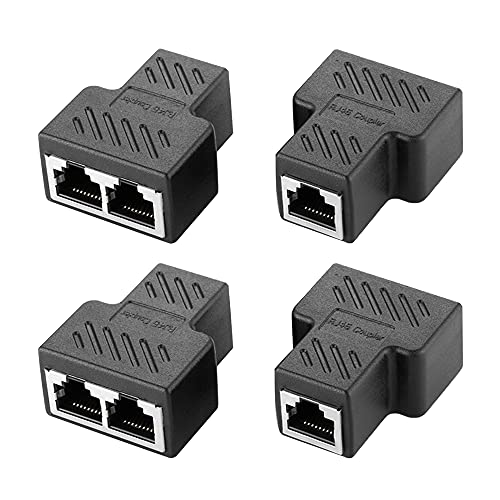 Swetup RJ45 LAN Adaptador Conectores, 4 Piezas Adaptadores de Extensión Red Divisor Enchufe Ethernet Adaptador de Enchufe Separador de 1 a 2 Conectores Divisores RJ45 para Extensión de Cable Ethernet