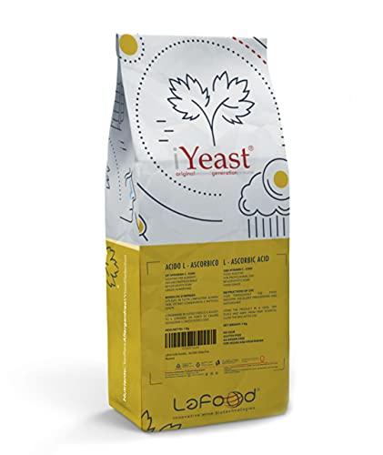 Lafood Acido Ascorbico - Vitamina C 1Kg - E300 - Alimentare, in Polvere, antiossidante, conservante. No OGM, Gluten Free, allergen Free, for Vegan And Vegetarian