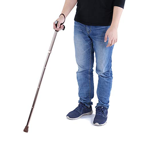 Semme Bastón Plegable bastón Ajustable para Hombres Mujeres Manija de Madera Liviana Guía de Seguridad para Personas Mayores Plegable Bastón Ciego Muleta Bronce