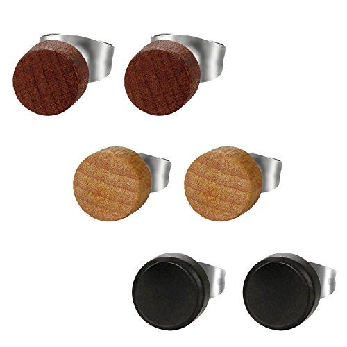 Flongo Pendientes de madera para hombre mujer, 8mm Pendientes de tapones redondos, Pendientes de acero inoxidable negro marron, Aretes de pernos