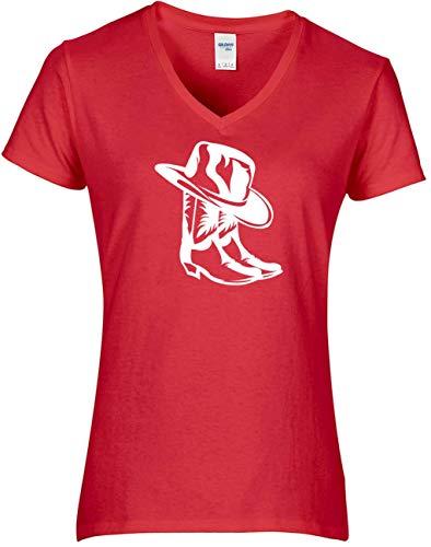 BlingelingShirts Shirt Line Dance Dames Cowboylaarzen met Cowboyhoed LDnieuw western shirt print wit