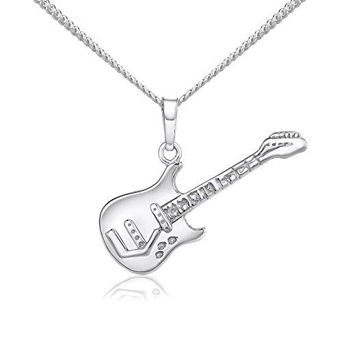 SILVEGO Unisex Anhänger aus 925 Sterling Silber Gitarre - SILVEGOB10526ZT