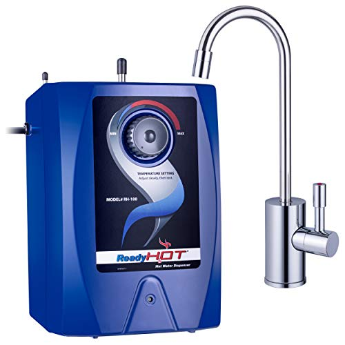 Ready Hot RH-100-F570-CH Hot Water Dispenser System, Includes Chrome Single Lever Faucet RH-100-F570-CH Hot Water Dispenser System, 2.5 Quarts, Manual Temperature Control, Single Lever Faucet, Blue