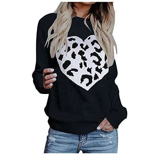 Lalaluka Langarmshirt Damen Sweatshirt Herz Leopard Drucken Pullover Frauen Pullover Oberteile Langarm Hoodie T Shirt Bluse Tshirt Tunika Top