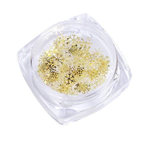 Luccase Nailart Glitzer Kit Weihnachtsdekor Tipps Schneeflockennägel Star Schneemann Geschenkbox Muster Pailletten Nail Art Glitzer Gold Metallscheiben (C)