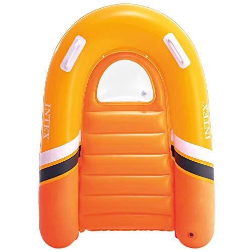 Intex 58154NP - Tabla surf niño, Tabla surf hinchable INTEX, 102x89 cm, peso máximo 40 kg, 2 asas de sujeción, color naranja, Tabla surf infantil, aprender a nadar