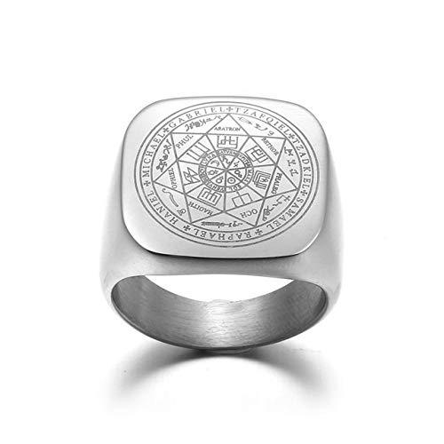 IENPAJNEPQN Anillos Salomón Hombres Color Plata Magia Runas Acero Inoxidable Anillos de Sello Pagan Amuleto la joyería Masculina (Color : Ring Size: 14)