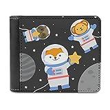 Bhqcflkwpz Space Cat Bifold Wallet Print Carteras de cuero Animal Cash Pocket para hombres y mujeres, blanco, Taille unique