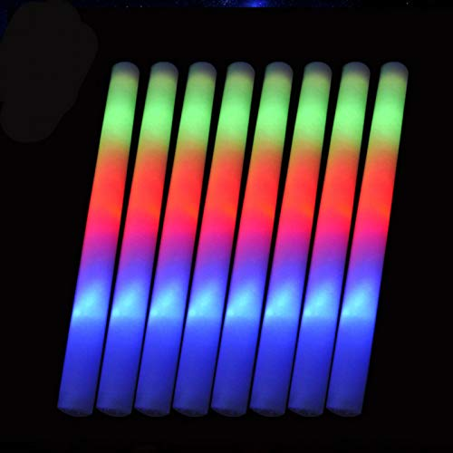 Bastones de espuma ligeros de LED, 8 unidades, para festivales de conciertos, palos...