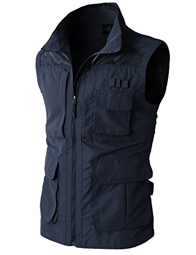 H2H Mens Casual Work Utility Hunting Travels Sports Vest With Multiple Pockets NAVY US S/Asia M (KMOV080)