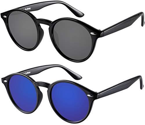 Sonnenbrille Herren Damen La Optica UV400 CAT 3 Retro Vintage Hippie Rund Round - Set Glänzend Schwarz (1 x Grau, 1 x Blau Verspiegelt)