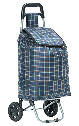ADHW Folding 2 Wheeled Lightweight Shopping Trolley Case Cart Printed Luggage Bag UK (Color : Navy Check)
