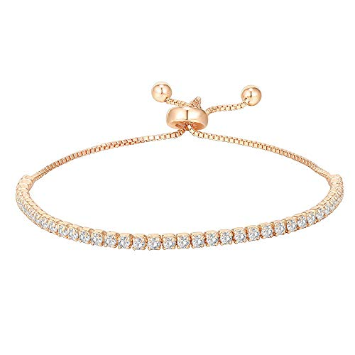 PAVOI 14K Gold Plated Cubic Zirconia Classic Tennis Bracelet for Women in Rose Gold