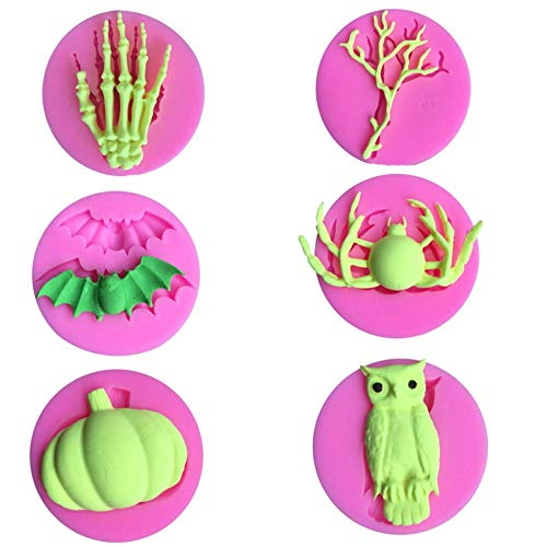 6Pcs Mini Halloween Silicone Fondant Molds Skeleton Skull Hand Spider Pumpkin Bat Owl Dead Tree Candy Sugar Craft Baking Tool Cake Decor DIY Maker Cupcake Topper Clay Soap