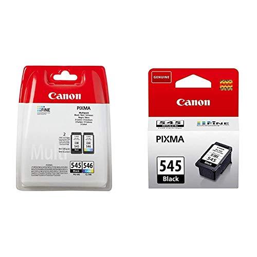 Canon PG-545+CL-546 Cartucho Multipack de Tinta Original Negro y Tricolor + PG-545 Cartucho de Tinta Original Negro para Impresora de Inyeccion de Tinta Pixma