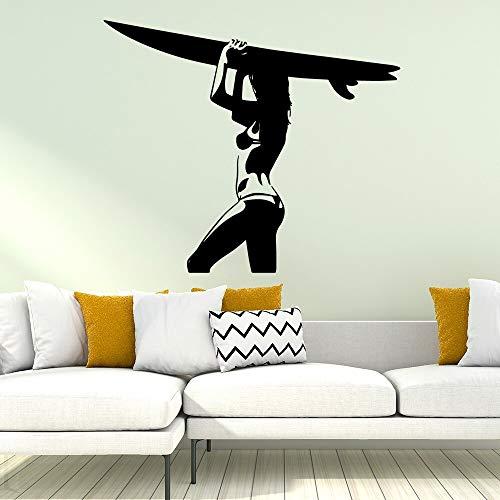 hetingyue Moderne Surf Fille Autocollant Mural Autocollant Étanche Vinyle Mural Art Applique Amovible Autocollant Mural Décoration 45x52 cm