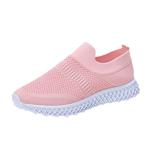 HWTOP Sportschuhe Damen Mesh Atmungsaktiv Sneaker Flache Casual Turnschuhe Slip-on Low Top Laufschuhe, Rosa, 38 EU