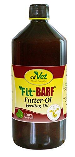 cdVet Fit-BARF Futter-Öl 1 Liter - hochwertige kaltgepresste Pflanzenöle mit essentiellen Fettsäuren als BARF Nahrungsergänzung und Energiequelle für Hunde und Katzen