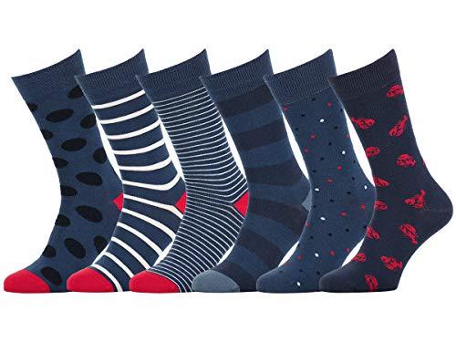 Easton Marlowe 6 PR Calcetines Estampados Hombre Mujer - 6pk #32, Mixto - colores neutros y brillantes, 39-42 UE