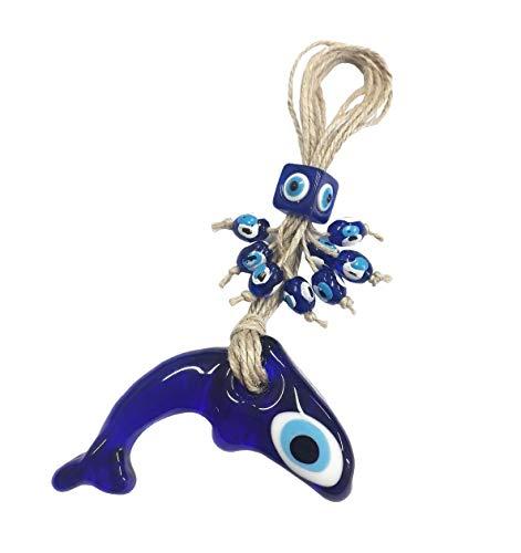 Nazar Boncuk Boncugu Delfin Türkisch Blau Evil Eye Glas Wandbehang 18cm Ornament Amulett Dekoration Home Decor Schutz Segen Geschenk Dügün sünnet