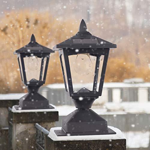 Faros solares para exteriores, lámpara solar, poste para postes de madera para valla, camino, luz de poste para cubierta de cerca, 4 x 4 o 6 x 6 postes (paquete de 2)