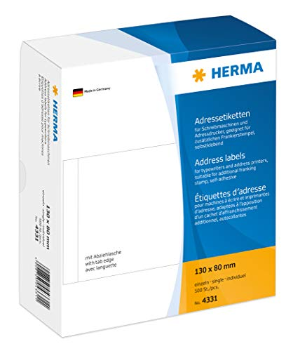 Herma 4331 Adresetiketten afzonderlijk voor schrijfmachines, adresprinter (130 x 80 mm) wit, 500 adresstickers, mat papier, met aftreklus