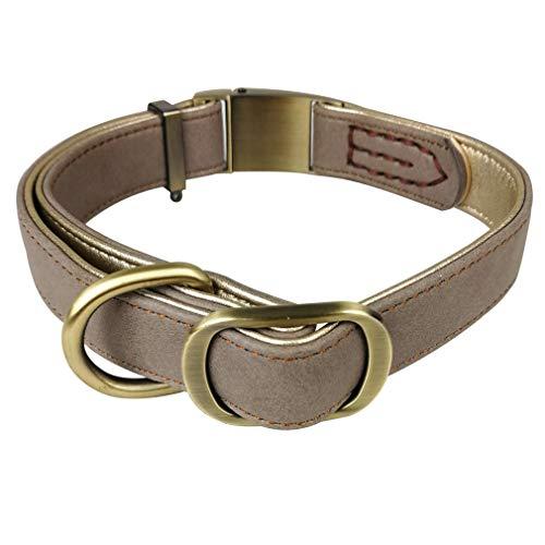Penivo Collares de Cuero para Perros Grandes Hebilla de Metal Mascotas de Lujo Perros pequeños pequeños Collar clásico básico Ajustable (S (24cm-34cm), Caqui)