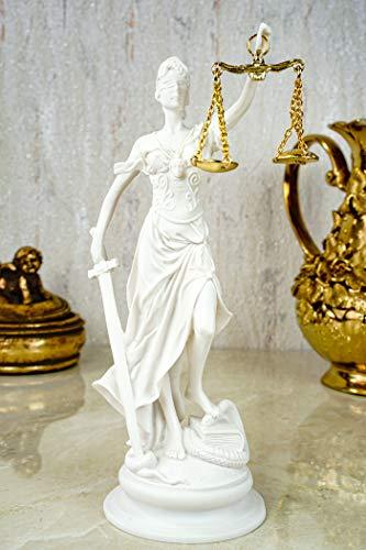 Alabaster Justitia Göttin Figur Skulptur runder Sockel BGB Recht Gerechtigkeit 21 cm weiß Gold
