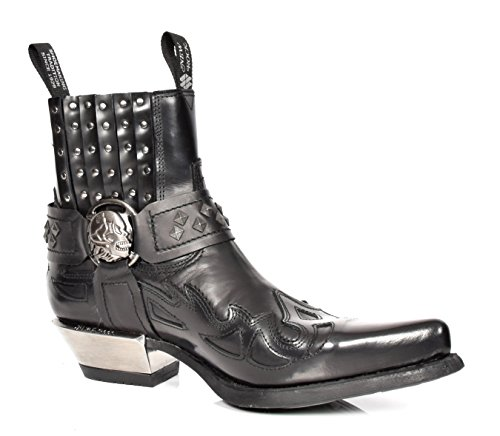 New Rock Botas Chelsea de Cuero Ponerse Biker Diseño Retro Zapatos de Tobillo Negro (EU 41)
