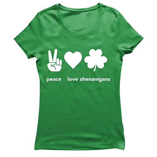 lepni.me Camiseta Mujer Paz y Amor Shenanigans Regalo para la Fiesta del Da de San Patricio en Irlanda (L Verde Multicolor)