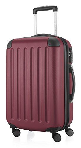 HAUPTSTADTKOFFER - Spree - Handgepäck Hartschalen-Koffer Trolley Rollkoffer Reisekoffer Erweiterbar, TSA, 4 Rollen, 55 cm, 42 Liter, Burgund