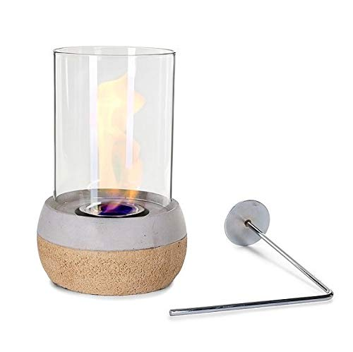 Glasfeuer Stone Tischkamin Feuerstelle Kamin Tischfeuer Bio Ethanol (Korkoptik)