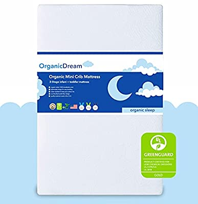"""Organic Dream 5"""" Mini Crib Mattress - 100% Breathable Proven to Reduce Suffocation Risk - GREENGUARD I 2-Stage I Washable I Extra Firm Infant Side and Plush Toddler (38x24x5) - Deluxe 5"""" Thick from ORGANICDREAM"""