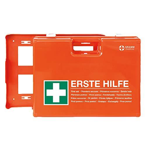 ACTIOMEDIC Mobiler und stationärer Erste-Hilfe-Kasten MULTI mit Wandhalterung, DIN 13 169, hypoallergene Pflaster, mehrsprachige Beschriftung, orange, 42 x 33 x 15 cm