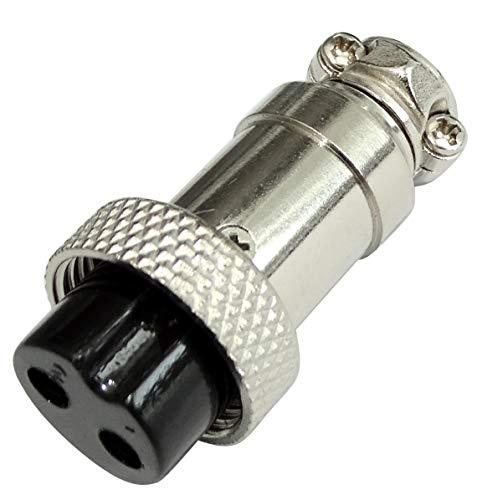 AERZETIX - Conector de micrófono GX16-2p - enchufe hembra recto 2 pines - de soldar - para cable - C43845