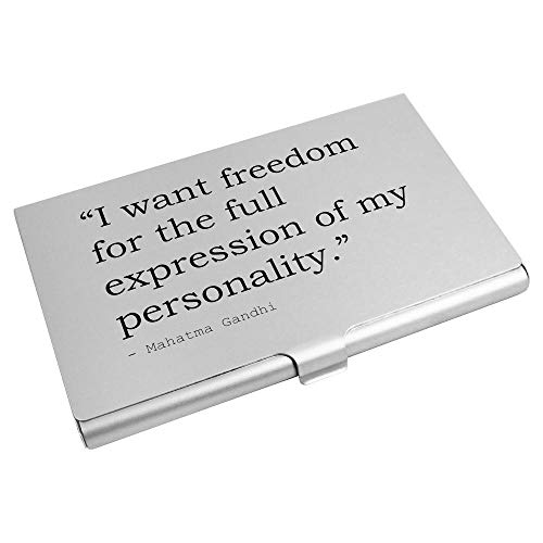 Freedom Quote By Mahatma Gandhi Business Card Holder / Credit Card Wallet (CH00012169)