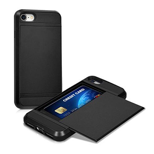 kwmobile 1x Carcasa Dura híbrida con Ranura Compatible con Tarjetas Apple iPhone 7/8 / SE (2020) en Negro