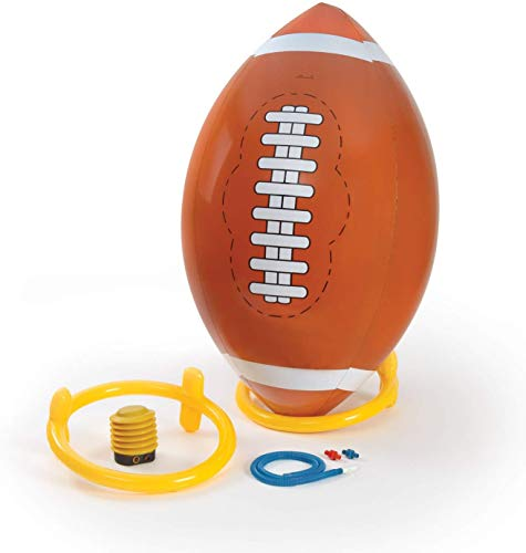 4 Foot Giant Inflatable Football with Tee and Pump - Jumbo Playground Blow Up Beach Ball Kickball Outdoor Backyard Lawn Poolside Game for Kids Adults