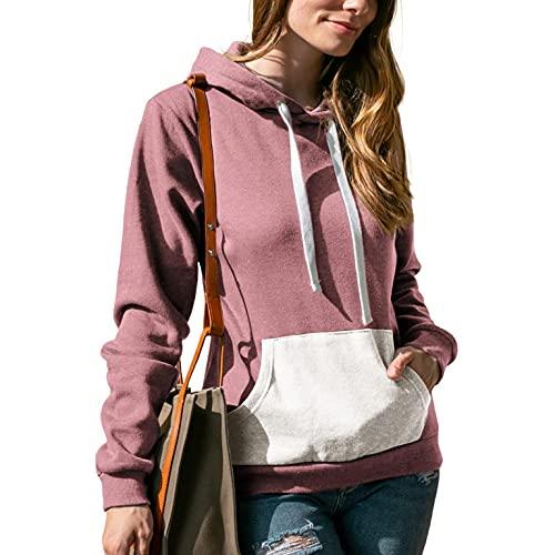 Sunggoko Sudadera con capucha para mujer, gruesa, para otoño e invierno, con capucha, color de contraste, para ocio, deporte, manga larga, de algodón 08