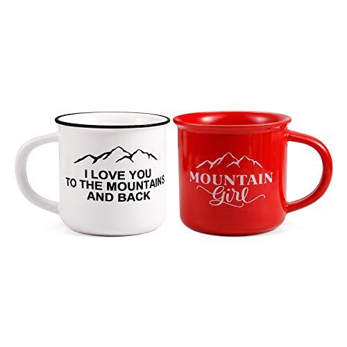 ROSA&ROSE Tasses de Petit déjeuner Céramique - Tasse à café avec Message et Dessin Amusant - Cadeau pour amies, Famille, Anniversaire ou Mariage (Rouge/Blanc)