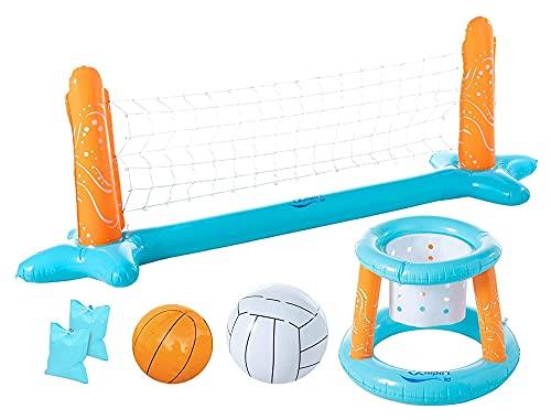Nadmuchiwany basen pływający zestaw do gry w siatkówkę i obręcz do koszykówki z 2 piłkami dla dzieci i dorosłych pływanie zabawki do pływania, pływanie, pływanie, pływanie latem, boisko do siatkówki