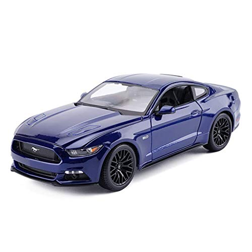 YNHNI Modelo de coche deportivo fundido a presión, vehículo de simulación modelo Ford Mustang GT, escala 1:18, juguete de aleación de juguete para la decoración del modelo de coche (color azul oscuro)