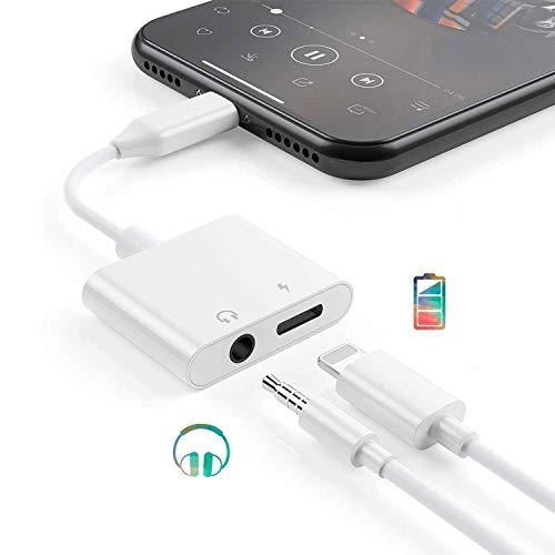 2 in 1 Kopfhörer Adapter für iPhone dongle Aux Kabel 3.5mm, Musik Laden Adapter Splitter Kompatibel mit iPhone 11 Pro Max/11/X/XS/XS Max/XR/8 Plus/8/7 Plus/7 Unterstützt alle iOS Systeme - Weiß